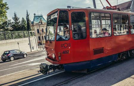 Belgrade, Serbia - August 29, 2015. Old red trmway on Pariska Street 新闻类图片