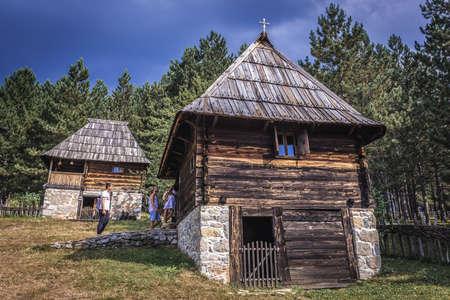 Sirogojno, Serbia - August 12, 2017: Rural traditional houses from 1890 in open air museum in Sirogojno village in Zlatibor area
