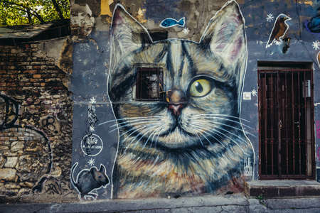 Belgrade, Serbia - August 29, 2015. Graffiti created by Pijanista in Belgrade