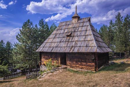 Sirogojno, Serbia - August 12, 2017: Wooden rural house from 1891 in open air museum in Sirogojno village in Zlatibor area
