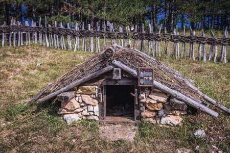 Sirogojno, Serbia - August 12, 2017: Traditional earth cellar in open air museum in Sirogojno village in Zlatibor area