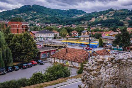 Arilje, Serbia - August 12, 2017: Aerial view of Arilje town in Serbia