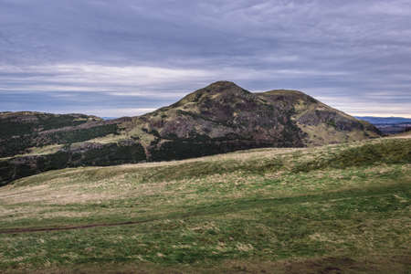 Main hill called Arthurs in Holyrood Park also called Kings or Queens Park in Edinburgh city, Scotland, UK