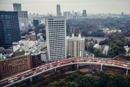 Tokyo, Japan - February 26, 2015: Aerial view in Tokyo with Route 4 of Shuto Expressway 新闻类图片