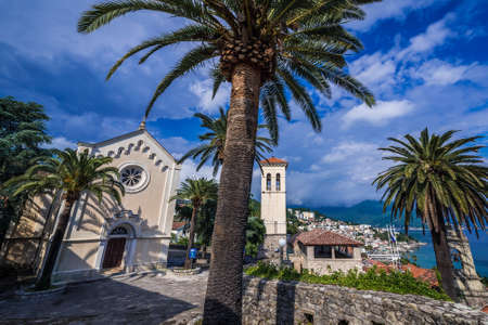 Herceg Novi, Montenegro - May 24, 2017: St Jerome church and tower on one of the squares of historic part of Herceg Novi Editorial