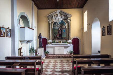 Herceg Novi, Montenegro - May 24, 2017: Altar of small church of Leopold Mandic in historic part of Herceg Novi