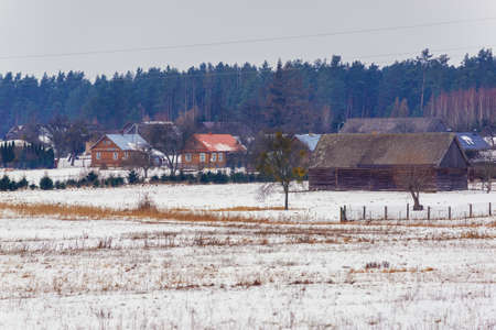 View of Soce village in Podlasie region of Poland with famous traditional folk houses Zdjęcie Seryjne