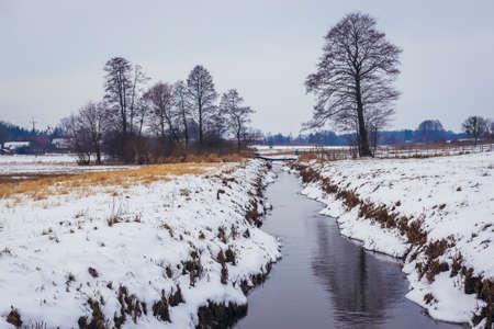 Small river Rudnia in Soce village, Podlasie region of Poland