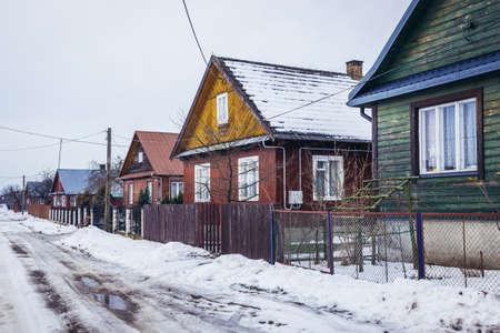 Row of traditional wooden folk cottages in Soce, small village in Podlasie region of Poland Zdjęcie Seryjne