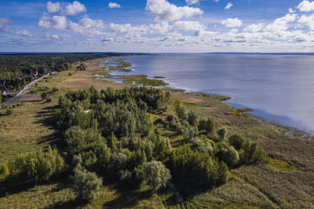 Drone photo of Vistula Lagoon in Katy Rybackie village located on the Vistula Spit between lagoon and Baltic Sea in Pomerania region of Poland