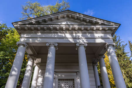 Facade of Sybil Temple also knonw as Diana Temple in Lazienki Park - Royal Baths Park in Warsaw, capital of Poland