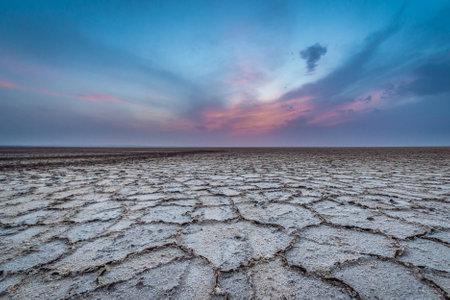 Evening over Namak - salt lake on Maranjab desert, Esfahan province of Iran