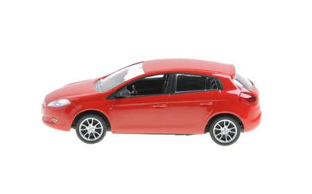 red Fiat nuova bravo toy car istolated on white background
