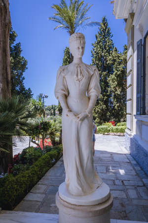 Corfu, Greece - June 16,2021: Sculpture of empress Elizabeth in Achilleion Palace, also called Sissi Palace on Corfu Island