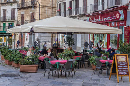 Palermo, Italy - May 8, 2019: Restaurant on Square of St Dominic Square in Palermo city, Sicily Island