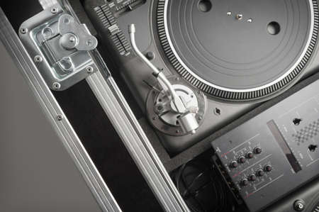 Turntables set up in flight case photo