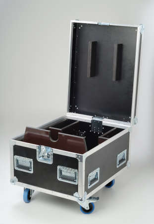 trundle:  Metallic rivets of a road case (for transporting music and lightning equipment) Stock Photo