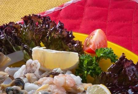 Seafood with vegetables photo