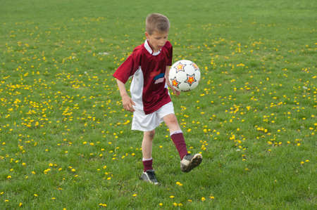 juggling: Soccer Training on the field of green