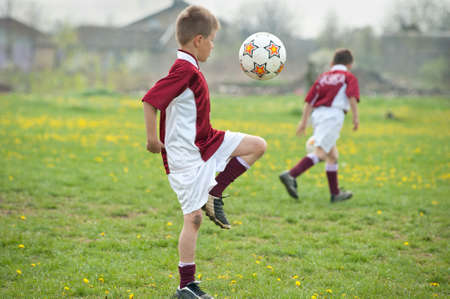 Soccer Training on the field of green