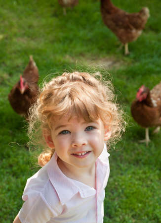 girl and Chicken photo