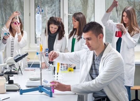 medical students: group of medical students in laboratory