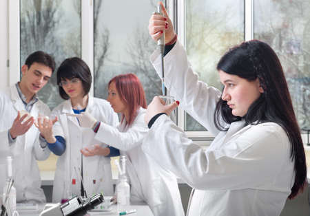 medical student in the laboratory exercise photo