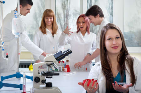 separating: group of medical students in laboratory