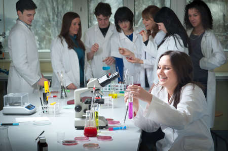 medical education: group of medical students in laboratory