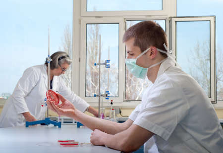 teacher and student in the laboratory Stock Photo - 10442044