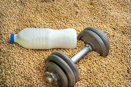 casein: 2 different source of proteins: milk, soya Stock Photo