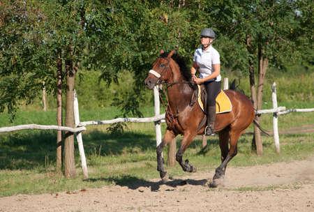 girl on horse: girl riding a horse