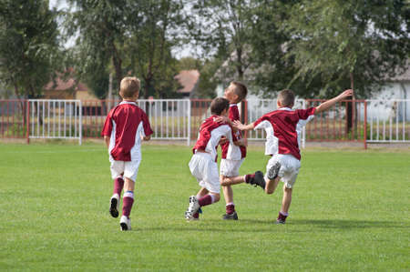 rejoices: happy boys rejoices after victory