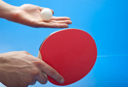 table tennis player serving Stock Photo - 10865835