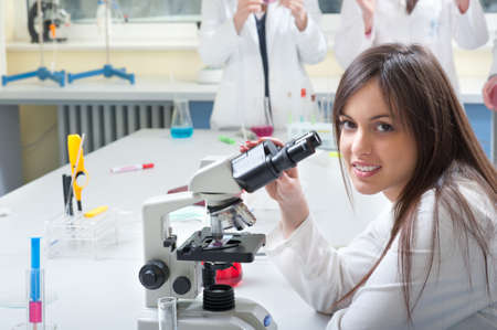 medical students: portrait of medical students in the laboratory