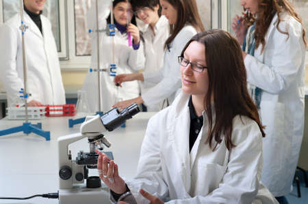 portrait of medical students in the laboratory photo