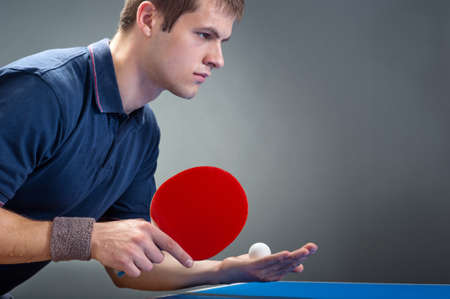 table tennis: Young sportsman playing table tennis