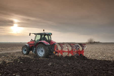 ploegen: Red Tractor Ploegen in de herfst Stockfoto