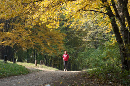 tracksuit: running  the autumn forest