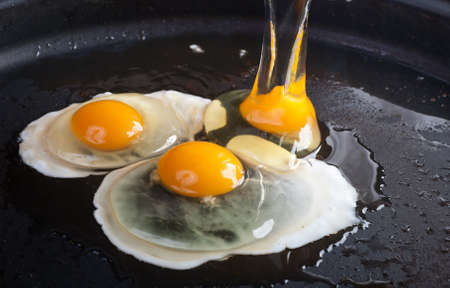 skillet: Close up view of the fried egg on a frying pan