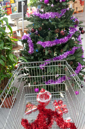 shopping at the supermarket for christmas photo