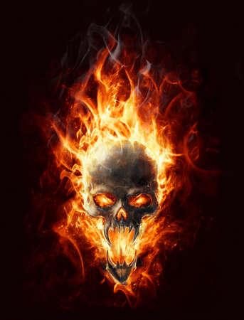 tete de mort: Bringer sataniques cr�ne br�le de malheur Banque d'images