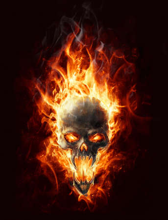 concept idea: satanic burning skull bringer of doom Stock Photo