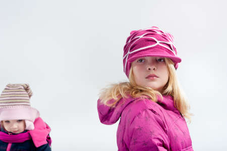 parka: portrait of little girl in winter clothes Stock Photo