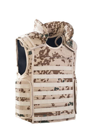 kevlar: camouflage bulletproof vest isolated on white  Stock Photo