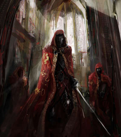 swordsman: illustration  priest worriors in catedral