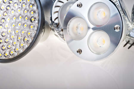 medium shot:  LED lights bulb isolated of white Stock Photo
