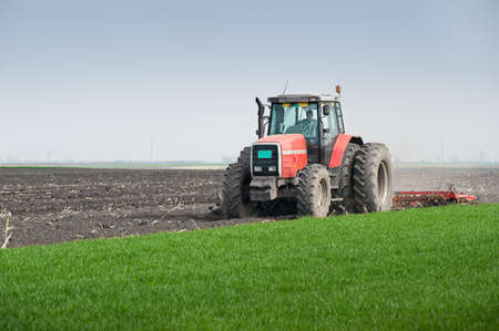 Tractor plowing the fields in spring  photo