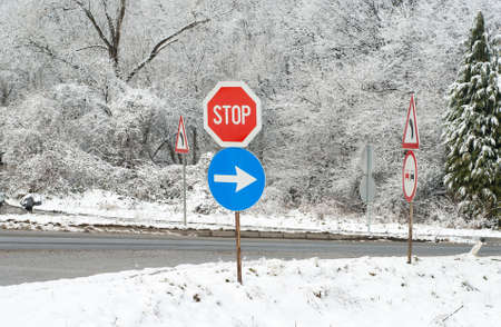 signs in winter snowy conditions photo