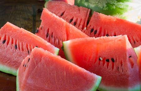 sliced watermelon: fresh watermelon slices close up
